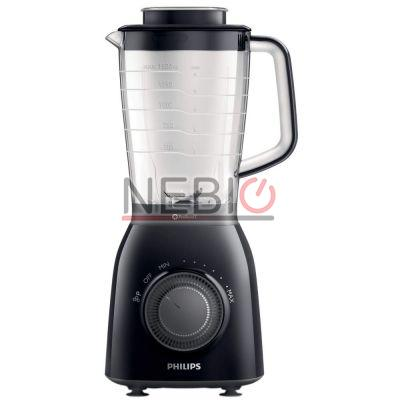 Blender Philips Viva Collection HR2162/90, 600 W, Vas din plastic de 2 l, Multiple viteze şi impuls, ProBlend 5, Negru/Gri