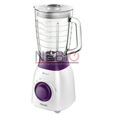Blender Philips Viva Collection HR2173/00, 600 W, Vas din sticlă de 2 l, Multiple viteze şi impuls, ProBlend 5, Alb/Violet
