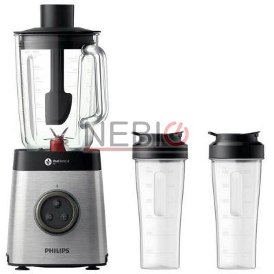 Blender Philips Avance Collection HR3655/00, ProBlend 3D 6, Afisaj LED, 2 Cani Transport, 1400 W, Vas 2l, 2 Viteze, 35,000 RPM, Functie impuls, Argintiu/Negru