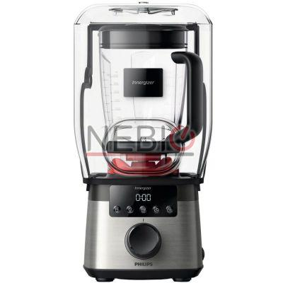 Blender Philips Avance Collection HR3868/00, ProBlend Extreme, Afisaj LED, 2000 W, Vas tritan 2.2l, Dom silentios, 4 Viteze, 45000 RPM, Functie impuls, Negru/Argintiu