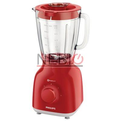 Blender Philips Daily Collection HR2105/50, 400 W, Vas din sticlă de 1, 5 l, 2 viteze şi impuls, ProBlend 4, Roşu