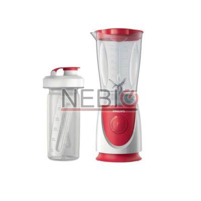 Mini blender Philips Daily Collection HR2872/00, 350 W, 0, 6 l, Accesoriu sticlă On the Go, Rosu/alb
