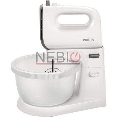 Mixer de mana Philips Viva Collection HR3745/00, 450 W, Bol actionare automata, 5 viteze, Functie Turbo, Alb/Gri