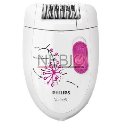 Set epilator PHILIPS Satinelle Essential HP6550/01, 1 Viteza, 20 Puncte de prindere, Retea, Alb/Mov