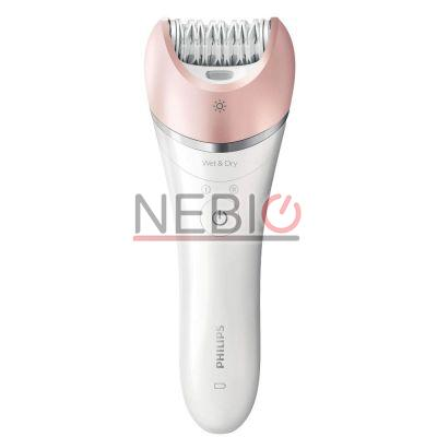 Epilator Philips Satinelle Advanced Wet & Dry BRE640/00, 32 Puncte de prindere, 2 viteze, Acumulator, Alb