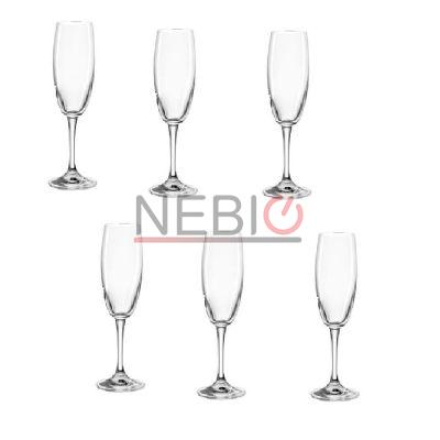 Set 6 pahare samapanie Montana 044447, Model Champagne First, Inaltime 22 cm, Diametru 5 cm, 180 ml, Transparent