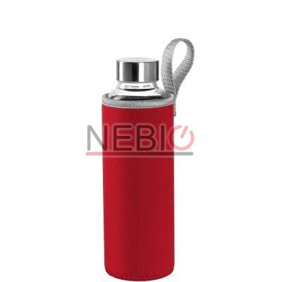 Sticla To go Montana 018858, 500 ml, Husa rosie, Transparent